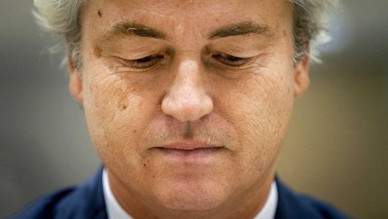 Geert Wilders tijdens de zaak rond de minder Marokkanen-uitspraken van de PVV-leider. Beeld anp