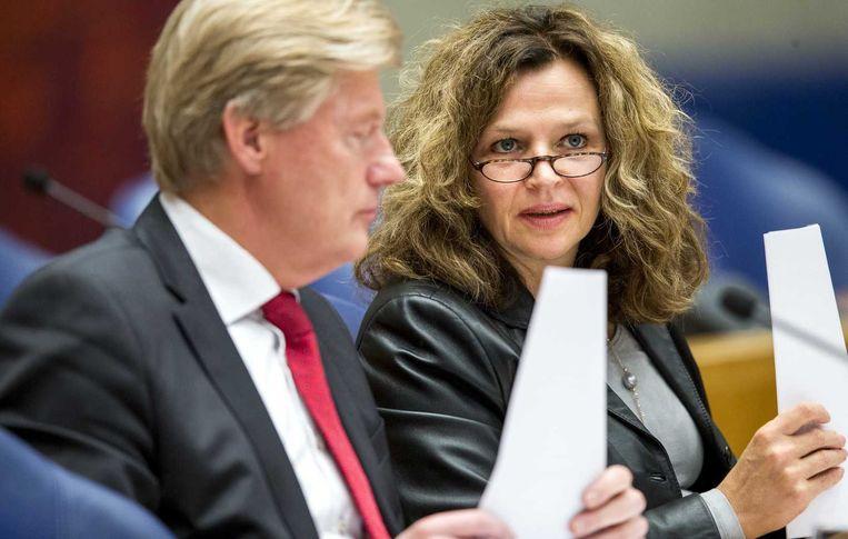 Ministers Schippers en staatssecretaris Van Rijn woensdag tijdens het debat over hun begroting. Beeld anp