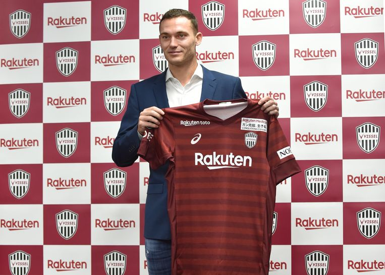 Japanese football club Vissel Kobe's new player Thomas Vermaelen of Belgian poses with his new uniform during a press conference at Noevir Stadium in Kobe on July 27, 2019. (Photo by Kazuhiro NOGI / AFP)
