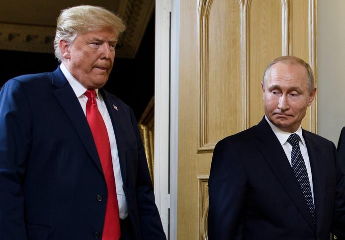 Donald Trump en Vladimir Poetin in juli 2018.