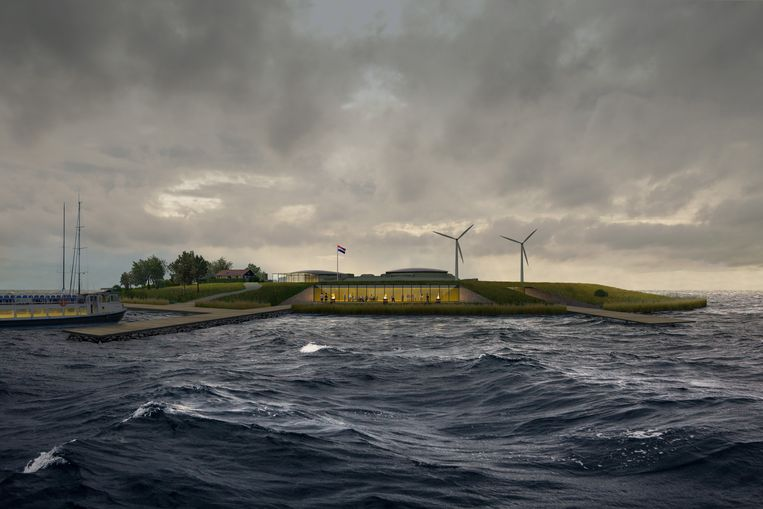 Zo moet het forteiland Pampus er straks uit gaan zien. vanaf het bezoekerscentrum heb je uitzicht over het IJ. Beeld Paul de Ruiter Architects