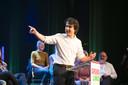 Jesse Klaver van GroenLinks in Hedon Zwolle tijdens een bijeenkomst over Lelystad Airport vorig jaar.