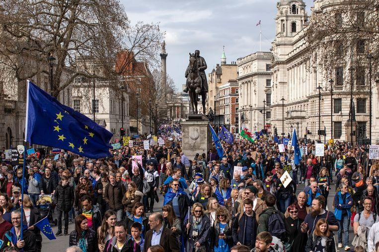 Anti-Brexit demonstraten in Londen. Beeld Getty Images