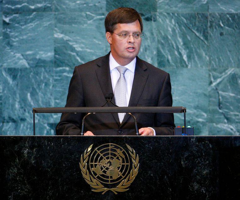 Premier Jan Peter Balkenende spreekt bij de VN in New York, 2010.