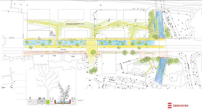 Het eerste ontwerp voor de herinrichting van de Stationsweg in Eindhoven. Gisteravond konden omwonenden hun commentaar geven hierop.