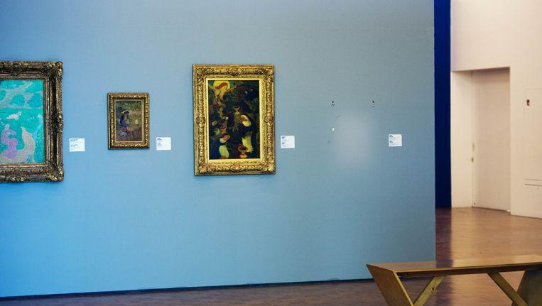 Een witte vlek markeerde disndag de plek waar een van de gestolen schilderijen hing. Beeld ANP