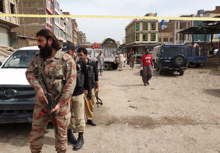 Pakistaanse veiligheidstroepen in Quetta, de hoofdstad van de onrustige provincie Baluchistan. Beeld EPA