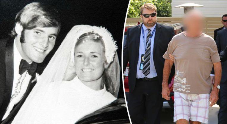 Chris Dawson en zijn verdwenen vrouw Lynnette Simms. Rechts een beeld van de aanhouding van Dawson vanmorgen.