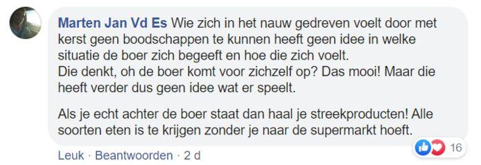 Reacties onder het Facebookbericht van Bennie Jolink waarin hij kerstacties van de boeren afraadt.