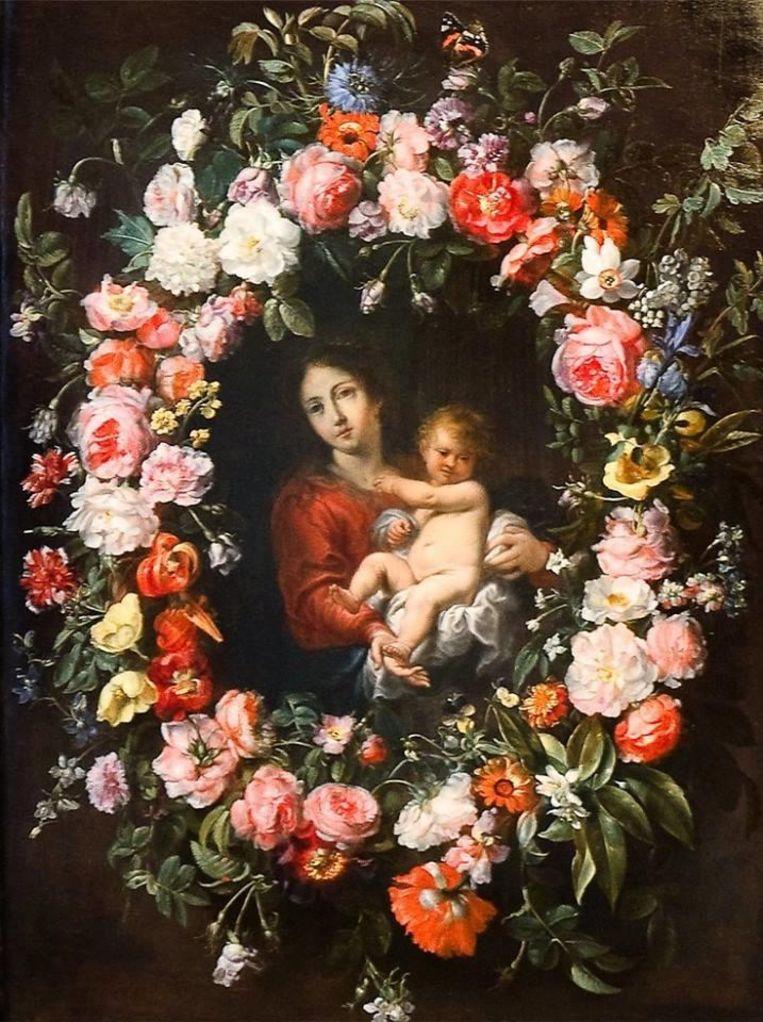 Maria met kind in bloemenkrans van de zeventiende eeuwse Vlaamse schilder Frans Ykens doet denken aan de foto van Beyoncé met haar tweeling. Beeld