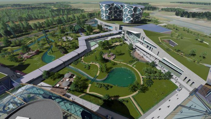 Impressie van de campus, zoals Lithium Werks die wil realiseren.