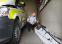 De kajak van Arjen in de garage van het politiebureau in Fauske, Noorwegen.