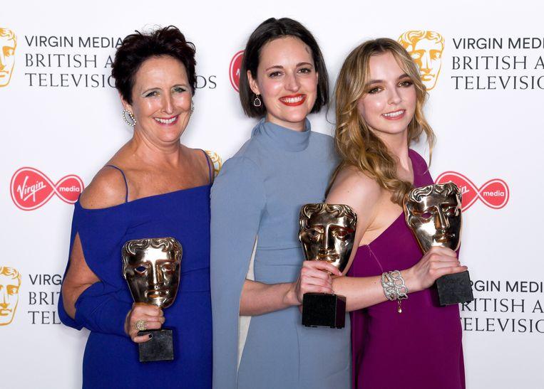 Fiona Shaw, Phoebe Waller-Bridge en Jodie Comer met hun BAFTA TV Award