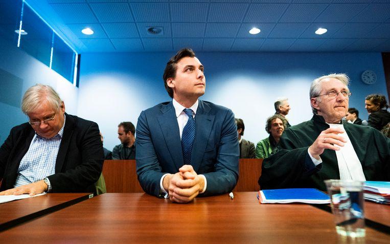 Thierry Baudet (FvD) in de rechtszaal in Lelystad tijdens het kort geding tegen de VPRO.  Beeld Freek van den Bergh / De Volkskrant