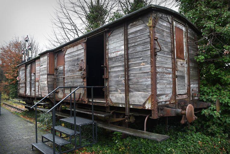 Een wagon van het type dat werd gebruikt om Joden naar Westerbork te deporteren.  Beeld Marcel van den Bergh