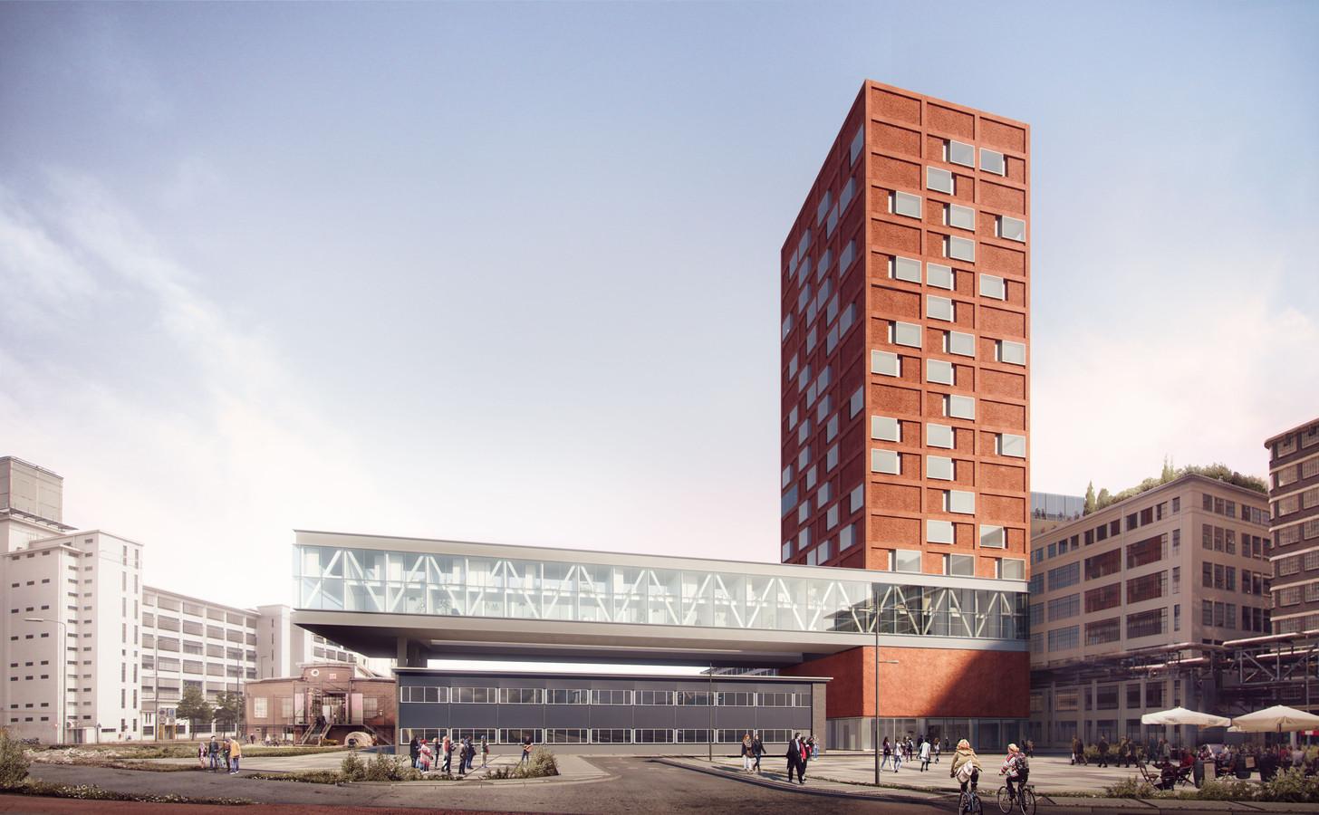 Een impressie van de woontoren Haasje Over van corporatie Trudo, momenteel in aanbouw op Strijp-S in Eindhoven. Een ontwerp van VMX Architecten.