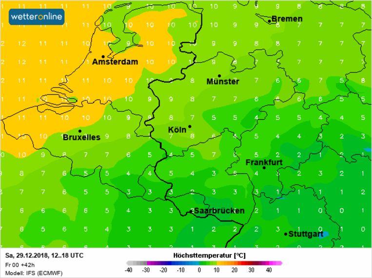 Vanaf deze avond wordt er gevoelig zachtere lucht aangevoerd waardoor de temperaturen stijgen tot maar liefst 10°C.