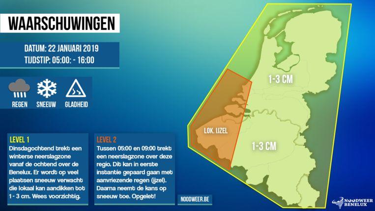 Waarschuwingskaart winterse neerslag op dinsdag 22 januari 2019 -