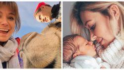 SHOWBITS. Evi Hanssen poseert met een dromedaris en babygeluk ten huize De Bruyne