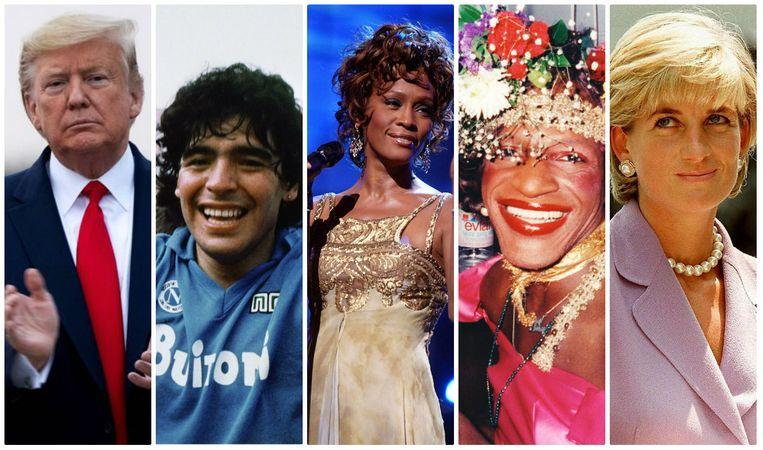 Donald Trump, Diego Maradona, Whitney Houston, Marsha P. Johnson en prinses Diana.