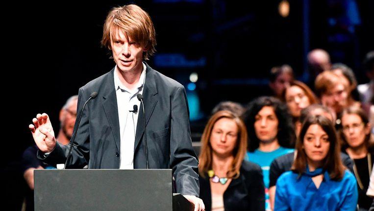 De Poolse regisseur Adam Szymczyk tijdens de opening van Documenta. Beeld afp