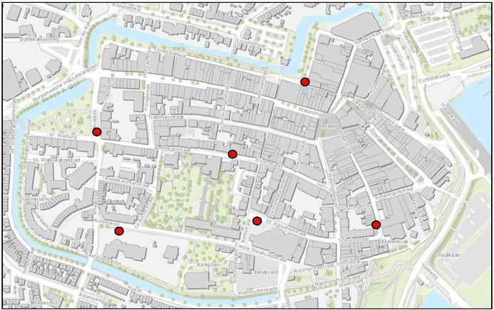 De locatie van de ondergrondse containers in Tiel.