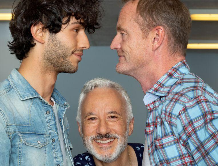 Van links naar rechts: acteur Harun Balci, schrijver en regisseur Daniël Cohen en acteur Mike Reus. Beeld Maartje Geels