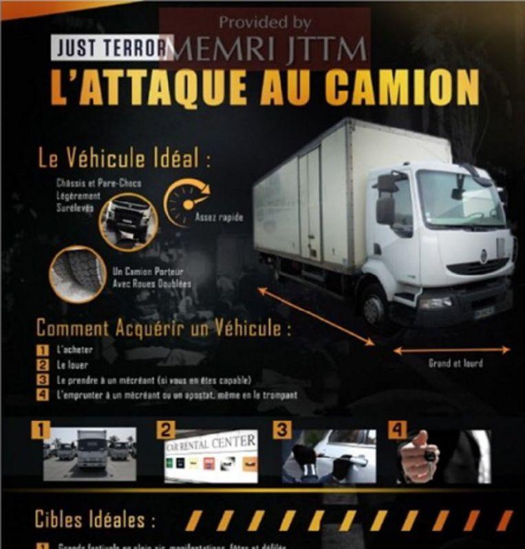 Voorbeeld van propaganda waarin IS specifiek oproept tot aanslagen met voertuigen.