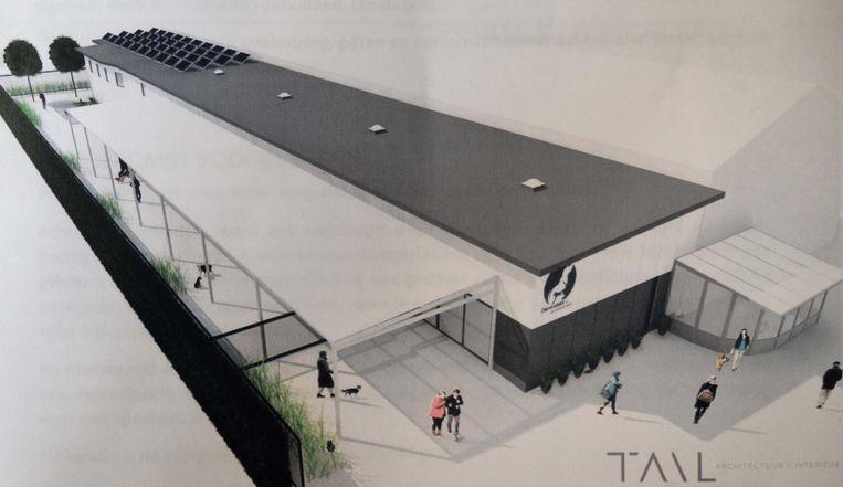 Zo moet het gebouw eruitzien na de renovatie. Het ontwerp komt van 'Tail architecten' uit Lendelede.