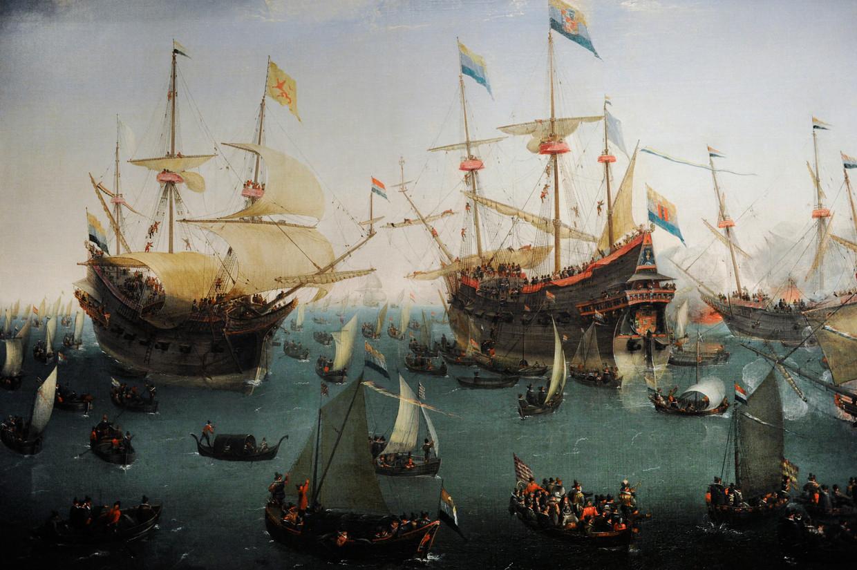 De terugkomst in Amsterdam van de tweede expeditie naar Oost-Indië, Hendrik Cornelisz. Vroom, 1599. Te zien in het Rijksmuseum.