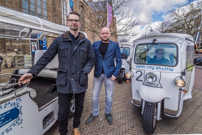 Martijn Kirsten (links) en compagnon George Walther bij de Delft City Shuttle