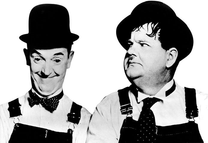 De 'dikke' (Oliver Hardy) en de 'dunne' (Stan Laurel): de een wordt makkelijker dik dan de ander.