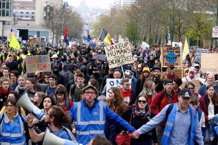 Een klimaatmars door Brussel, op 31 maart van dit jaar. Beeld BELGA