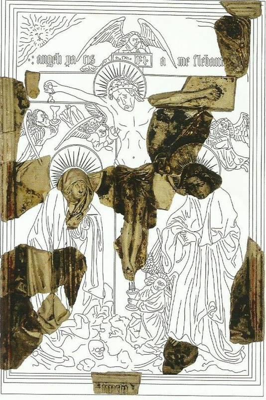 Bij opgravingen aan de Westlandseweg in Delft zijn onderdelen gevonden van een afbeelding van Christus aan het kruis.