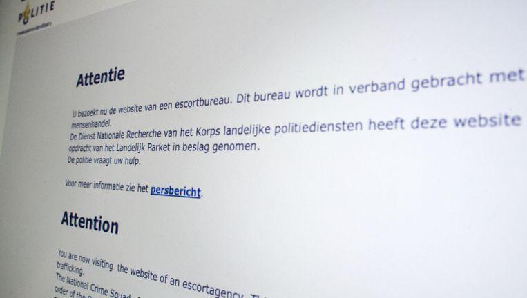 De Nationale Recherche heeft van twee escortbureaus de website afgesloten. De escortbureaus worden verdacht van mensenhandel. Beeld