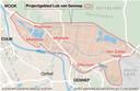 Infographic over het projectgebied Lob van Gennep