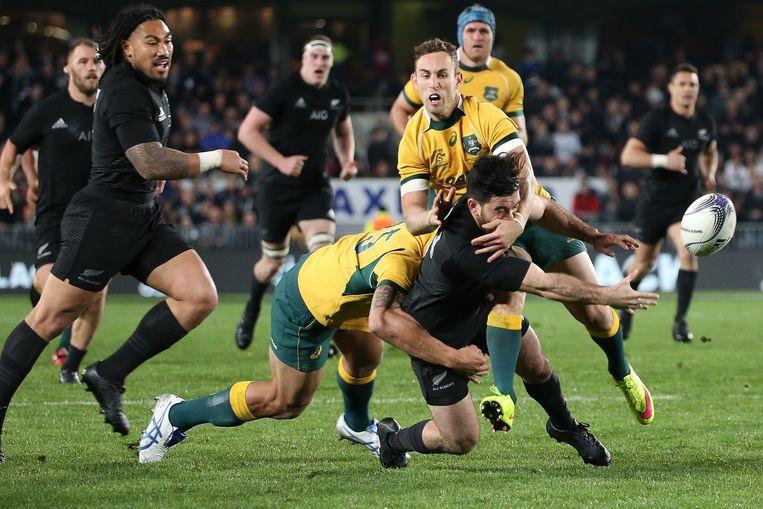 Het duel tussen Nieuw-Zeeland en Australië om de Bledisloe Cup in augustus. Beeld anp
