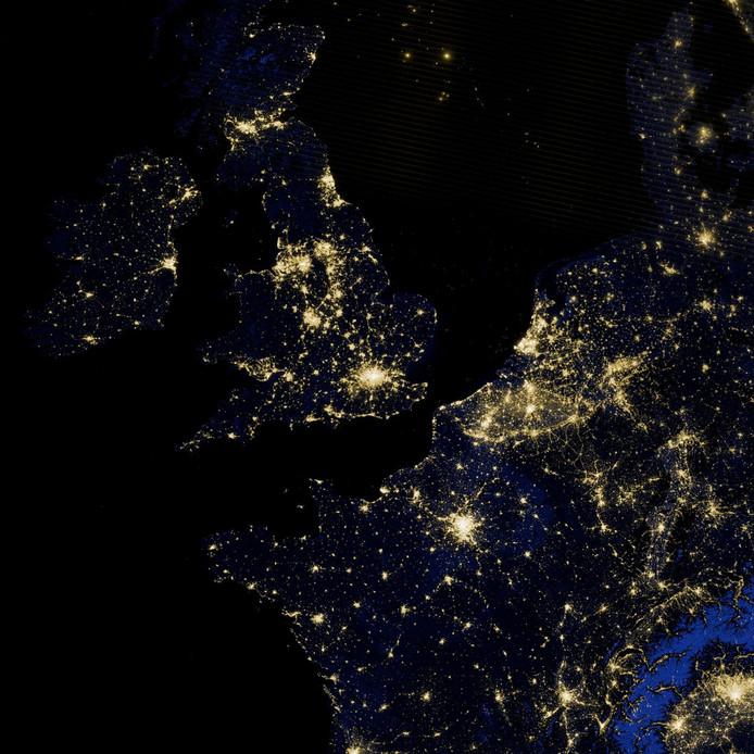 Satellietbeelden van Europa bij nacht