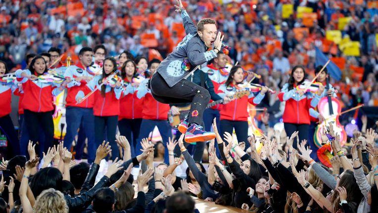 Chris Martin voorspelde in 1998 al - toen nog met beugel - dat Coldplay groot zou worden Beeld Lucy Nicholson/Reuters