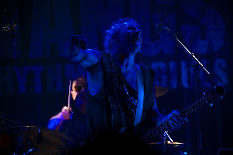 Frank Kraaijeveld bij het optreden van de Bintangs in poppodium Doornroosje in Nijmegen.  Beeld Otto Snoek