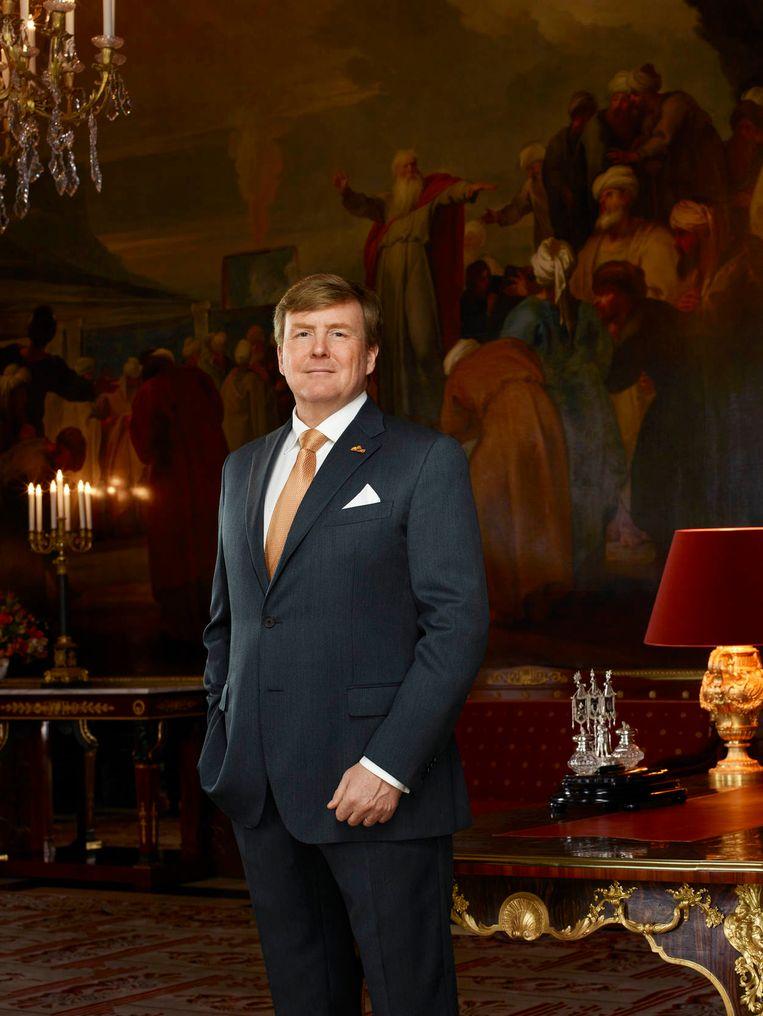 Koning Willem-Alexander in de Mozeszaal in het Koninklijk Paleis Amsterdam. Beeld RVD - Erwin Olaf