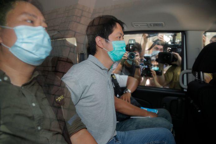 Ted Hui bij zijn arrestatie vanmiddag.