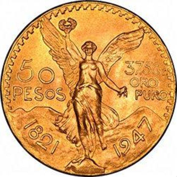 50 Mexicaanse pesos. Het muntstuk heeft momenteel een waarde van 1.428 euro en bevat 37,5 gram zuiver goud van 21,6 karaat.