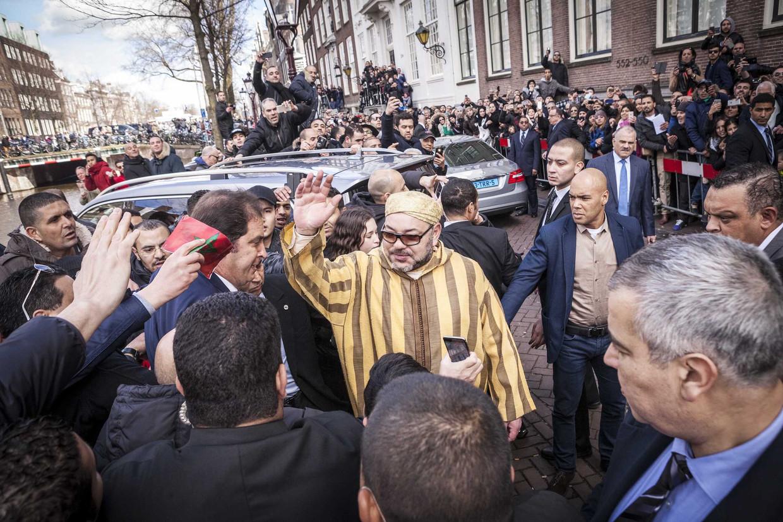 Mohammed VI tijdens een bezoek aan Amsterdam in maart 2016. Beeld ANP