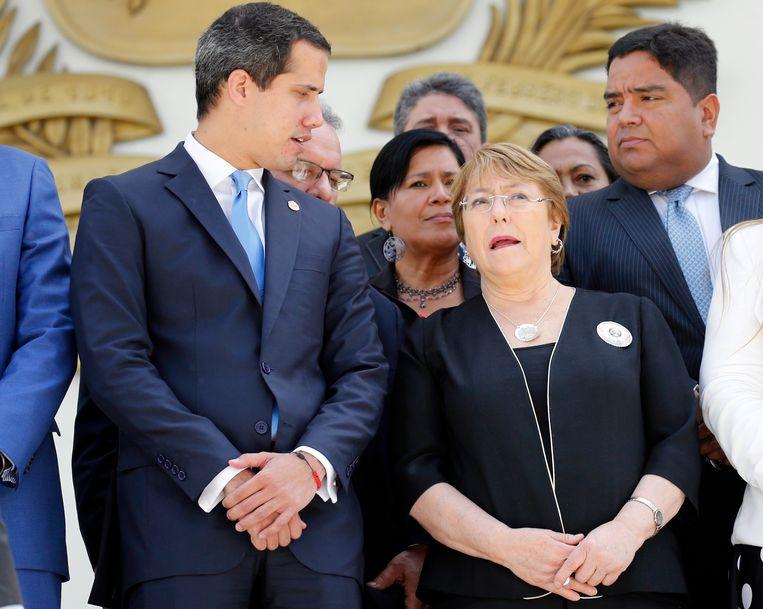 Michelle Bachelet, Hoge Mensenrechtencommissaris van de Verenigde Naties, en de Venezolaanse oppositieleider Juan Guaido.