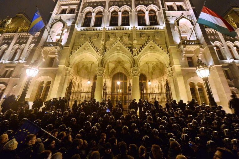 Demonstraties in Hongarije. Beeld afp