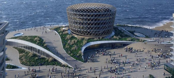 Een toekomstbeeld van hoe het nieuwe casino van Middelkerke er zal uitzien. Het gebouw zou op 1 juli 2023 de deuren moeten openen.