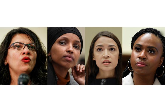 Les démocrates Rashida Tlaib,  Ilhan Omar, Alexandria Ocasio-Cortez et Ayanna Pressley.