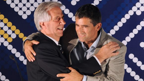Tabaré Vázquez (links) en zijn kandidaat voor vicepresident Raul Sendic.