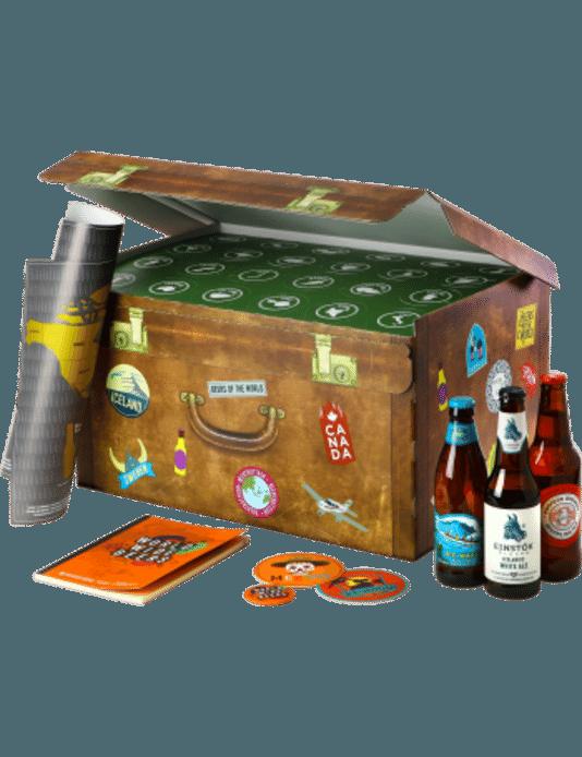 Une valise de voyage regroupant une sélection de bières uniques, provenant des quatre coins du monde, imaginée par Saveur Bière. Prix: 49,90 euros.